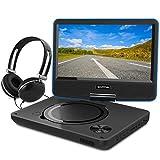 WONNIE 9,5' Lecteur DVD Portable avec Ecran Rotatif, Batterie Rechargeable Intégrée Carte SD/USB Parfait pour Enfants (Bleu)