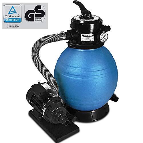 Deuba Depuradora Azul y Negro 10200 l/h bomba de filtro de arena con válvula con 4 funciones filtro...