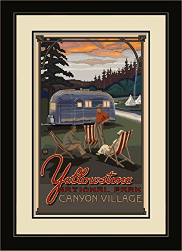 Price comparison product image Northwest Art Mall PAL-4911 MFGDM AIR Yellowstone National Park Airstream Trailer Framed Wall Art by Artist Paul A. Lanquist, 13 x 16