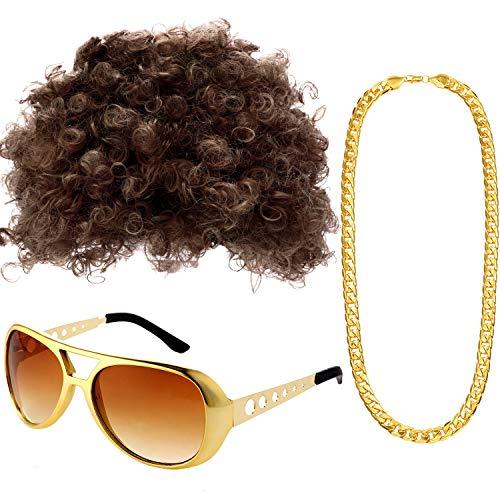 Disco Sonnenbrille - Gejoy Hippie Kostüm Set Funky Afro