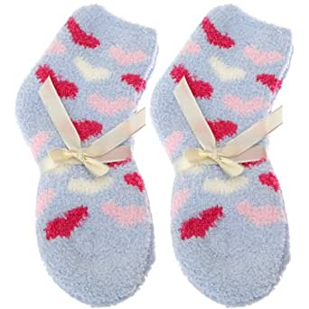 Ladies/Womens Premium Quality Heart Bed/Lounge Supersoft Cosy Ankle Socks (Pack Of 2) (UK Shoe 4-7, EUR 35-41) (Blue)