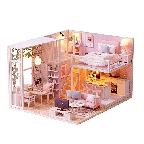 DIY Kleines Haus South Breeze DIY Miniatur Holz Puppenhaus LED Möbel Kit 3D Puzzle Spielzeug Kind Geburtstagsgeschenk ohne Staubschutz-Puppenhaus Set bemalbar für Kinder und Mädchen