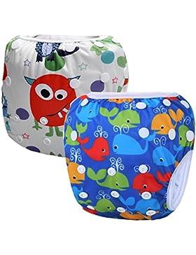 Storeofbaby Wiederverwendbare Baby Schwimmen Windel Schwimmen Hosen Windeln für Jungen Mädchen 0-3 Jahre 2 Pack...