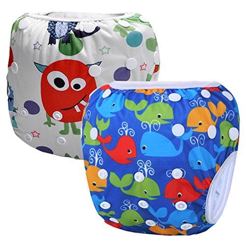 Storeofbaby Wiederverwendbare Baby Schwimmen Windel Schwimmen Hosen Windeln für Jungen Mädchen 0-3 Jahre 2 Pack (Blau Orange)