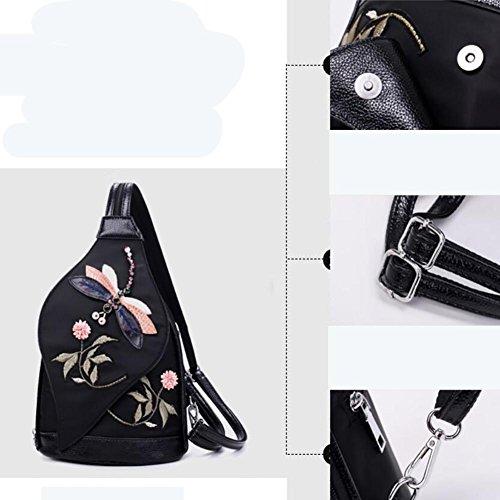 YINGER Zaino delle donne Panno di Oxford multifunzione Peso leggero Viaggi con il design del ricamo Borsa a tracolla , Black Black