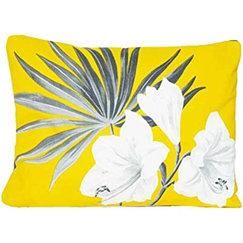 Amarillo diseño de flores de funda para cojín gris lirios blancos decorativo funda de almohada rectangular manta para