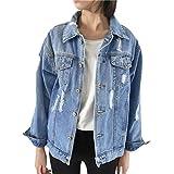 Sannysis Frauen Basic Mäntel Herbst und Winter Damen Jeansjacke Vintage Langarm Lose Mädchen Jeans Mantel Beiläufige Outwear (S, Blau)