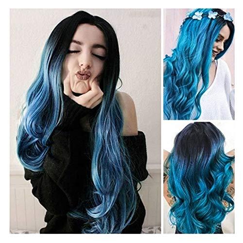 ❤️LCLrute Blau 30 Zoll Cosplay Ombre Perücke Langes Lockiges Haar Dark Root Seitenteil für Frauen Synthetisches Weihnachtskostüm