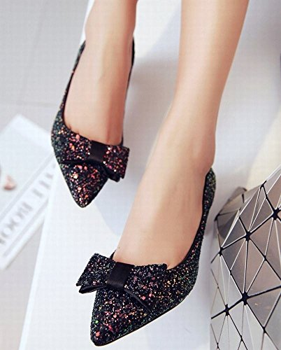 Mee Shoes Damen modern reizvoll Kitten-Heel spitz mit Schleife Geschlossen Pailletten Pumps Schwarz