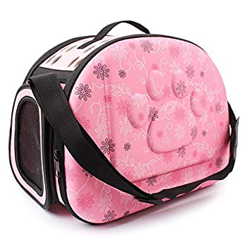 Sinbide Sac de Transport Chien Chat Lapin Respirable Démontable Lavable Pliable Oxford (Rose)