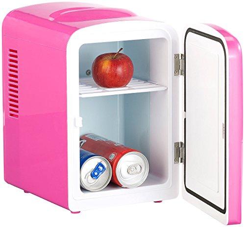 Rosenstein & Söhne Thermobehälter: Mini-Kühlschrank AC/DC, 12/230V 4l, mit Warmhalte-Funktion, pink (Mobiler Mini-Kühlschrank)