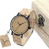 HWCOO Relojes de Madera, Tabla de Madera cinturón de Corcho de bambú Movimiento japonés Mesa de Hombres y Mujeres (Color : 1)