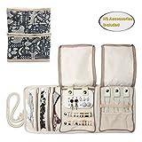 Teamoy Roll para Joyería Organizador de joyas Estuche de viaje para collares, pendientes, pulseras,...