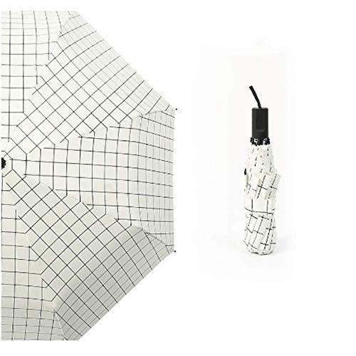 BBQBQ Sonnenschirm Farbe dreifach schwarzer Kunststoff Sonnenschutz Regenschirm mit doppeltem Verwendungszweck weißes Plaid
