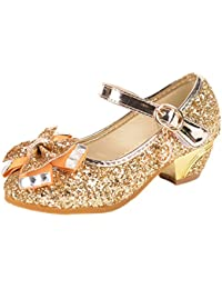 8993057165806 Yy.f YYF Fille Ballerine Chaussures à Talon à Déguisement Princesse avec  Nœud Paillettes pour