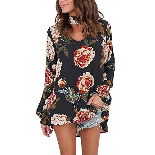 Petalum Damen Bluse Elegant Langarm Choker Blumen Druck V-Ausschnitt Lose Tunika Bluse Top Shirt (Rock Langer Jeans)