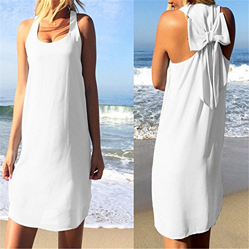 Tranello(TM) women summer beach dress causal solid o-neck sleeveless bow female sundress new fahsion chiffon feminina de festa plus size hot
