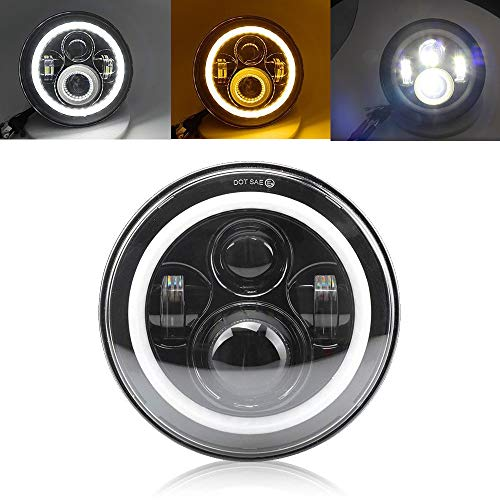 dlight Angel Eyes DOT/E-MARK Approved 6000K Hi/lo Beam and DRL Headlamp Halo for Motorcycle, Colight ()