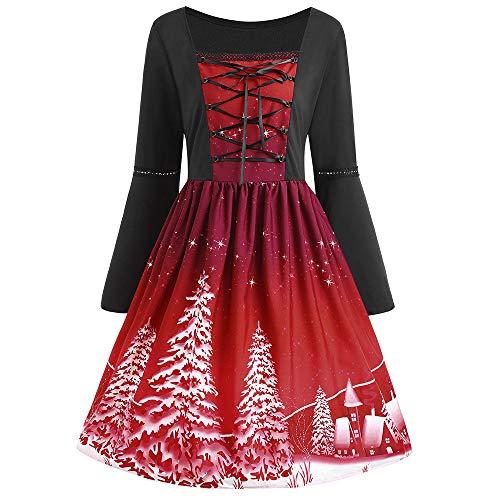 (TEBAISE Damen Retro Vintage Drucken Gothic Steampunk Röcke Halloween Karneval Weihnachten Weihnachts Party Rüschen Rock Spitze Punk Kleid Cocktailrock Cosplay Kostüm Schulter Oberteil)