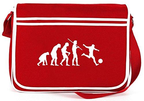 Shirtstreet24, EVOLUTION FUSSBALL, Fußball EM/WM Retro Messenger Bag Kuriertasche Umhängetasche Rot