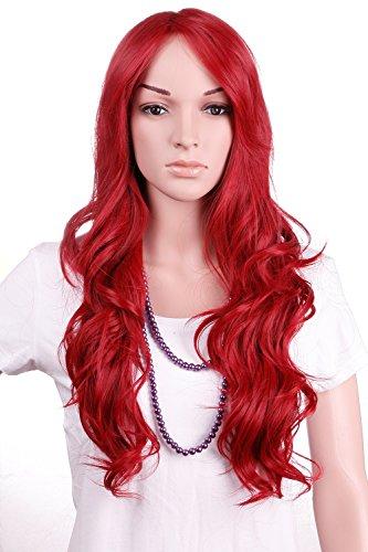 S-noilite® 70cm Damen Lang Ombre Haar Perücken Mode Gelockt Gewellt Perücke Kunsthaar Haar Cosplay Wig - (Stift Erwachsene Kostüme Roten)