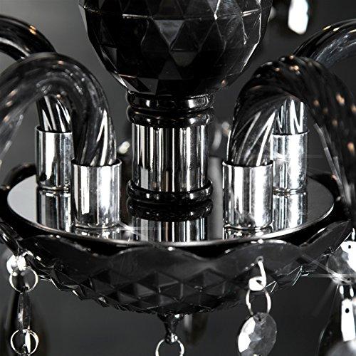 Schwarzer Kronleuchter mit Acrylkristallen, 5 armig - 4
