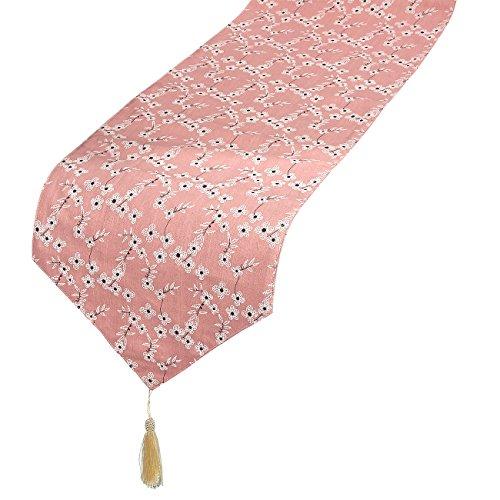 Tischläufer mit Quasten–Dresser Schal mit floralen Illustrationen, ideal wie Kaffee Tischläufer, Esstisch Läufer, oder in der Küche Tischläufer, pink, 177,8x 33,7cm, baumwolle, rose, 70 Inches Pink Floral Tischläufer