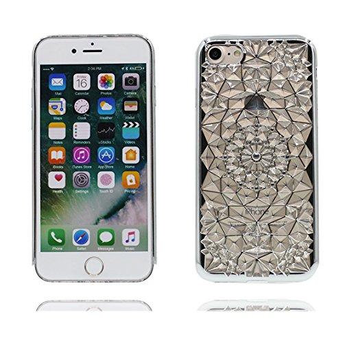 iPhone 7 Plus Custodia, Fashion Silicone trasparente morbido Cover Shell per iPhone 7 Plus Copertura / 3D diamante Bling / iPhone 7 Plus Case 5.5 Anti shock Durable / rosa Slivery 3