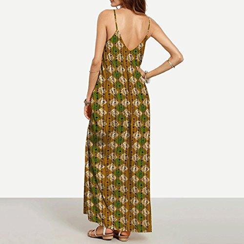 QIYUN.Z Frauen V-Ausschnitt Spaghetti-Armband Ärmellosen Strand Backless Sundress Lange Maxi Kleid Foto Farbe 3