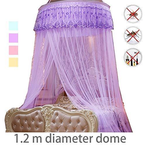 YSA Moskitonetz für Kinderbett, zusammenklappbare Hoop Sheer Bettpfosten Baldachin Twin Full Queen King geeignete Kinderbetten, Set, Lace Net Canopies, Orange -