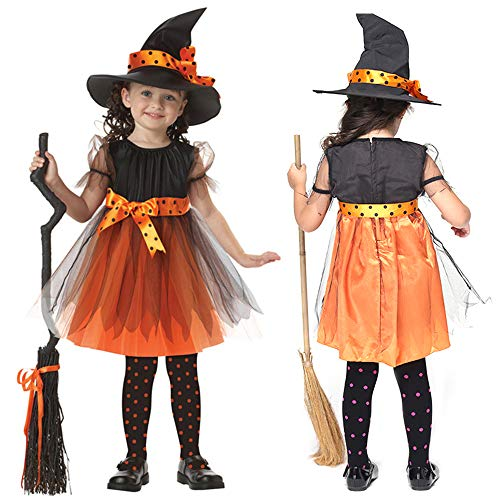 MENGZHEN 1 Set Fee Halloween Cosplay Party Fasching Hexenkostüm Party Kleider und Hut, Orange, 120 cm