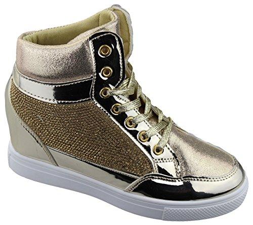 KOLLACHE Womens Wedge Heel High Top Ankle Boot Ladies Diamante Summer Shoes