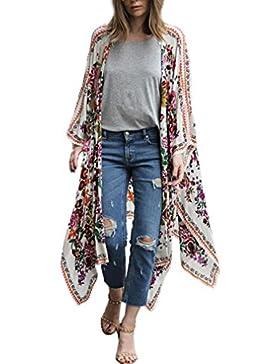 HARRYSTORE Las mujeres de impresión floral de gasa suelta mantón kimono rebeca tapa hasta la camisa de Bohemia...