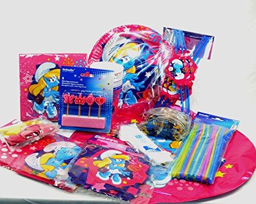 Mega Party Set Schlumpfine 128-teilig Mädchengeburtstag, Smurf Party, Partyspaß für Kinder