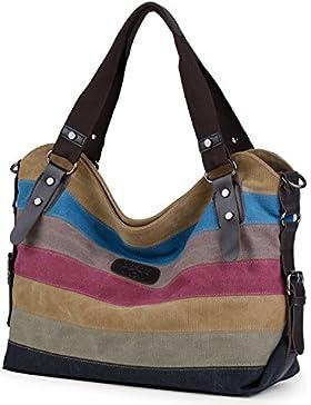 Damen Handtasche,Coofit Damen Canvas Tasche Handtasche Umhängetasche Damenhandtaschen Schultertasche Striped Hobo...