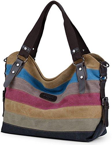 Damen Handtasche,Coofit Damen Canvas Tasche Handtasche Umhängetasche Damenhandtaschen Schultertasche Striped Hobo Bags Shopper (Handtasche Damen Multi Color)