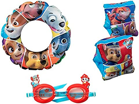 PAW PATROL BOYS SWIM RING ARM BANDS & GOGGLES SET CHILDRENS KIDS SWIMMING KIT