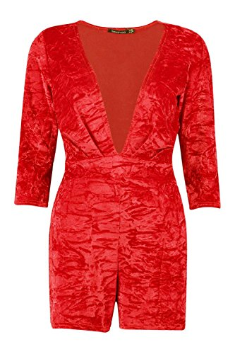 rouge Hommes Pamela Deep Plunge Crushed Velvet Playsuit Rouge