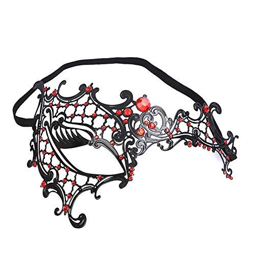 Hacoly Maske Damen Hollow EIN Auge Mit Kristall Maskenball Maske Halbes Gesicht Karneval Maskenball Maskerade Mask Frau Augen Maske für Festival Cosplay Halloween Kostüm-Rot