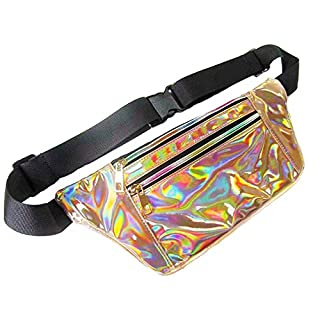 AZX Unisex Hologram Waist Pack Women Shiny Laser Waist Bag Fanny Packs Fashion Running Belt Waist Pouch For Travel Running Cycling (Gold)