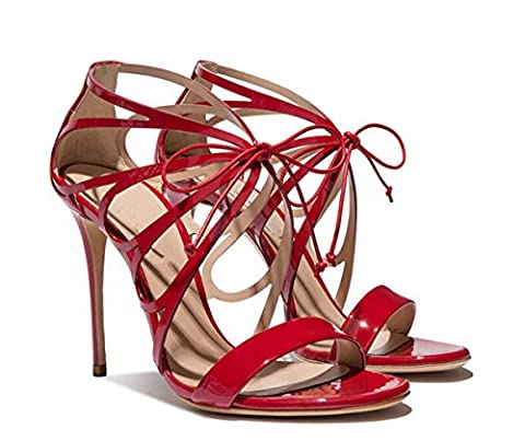 Miyoopark LS0627 Women's Gladiator Lace-up Red Patent Leather Evening Dress Sandals UK 3.5