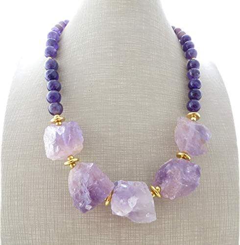Collana con ametista viola sfaccettata, girocollo con pietre dure, gioielli fatti a mano, bijoux contemporanei, creazioni artigianali, regalo per lei