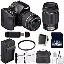 Pentax K-50 DSLR Camera With 18-55mm And 55-300mm Lenses (Black) + Replacement Lithium Ion Battery + External Rapid Charger + 16GB SDHC Class 10 Memory Card ++ Deluxe Starter Kit 6AVE Bundle
