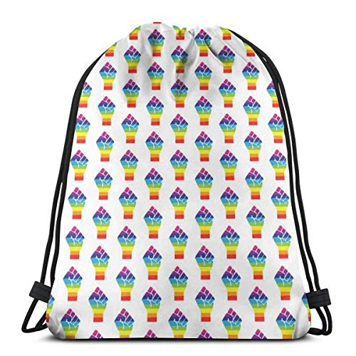best& Pride Fist- Rainbow Pride - LGBTQ Pride_6335 3D Print Drawstring Backpack Rucksack Shoulder Bags Gym Bag for Adult 16.9