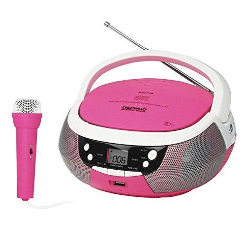 Daewoo 599371031 - portable cd radio with usb - pink