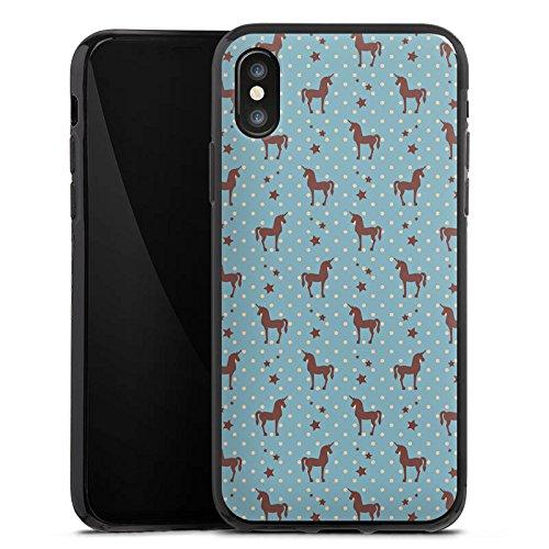 Apple iPhone X Silikon Hülle Case Schutzhülle Einhorn Unicorn Muster Silikon Case schwarz
