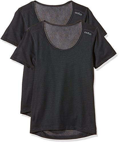 Odlo Damen Unterhemd Shirt Short Sleeve crew neck CUBIC 2 Pack, ebony grey-black, M, 192281 (Schlanker Naht Womens)