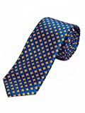 Lorenzo Guerni PREMIUM - italienisches Design - 100% Seide Elegant karierte Krawatte in blau/orange