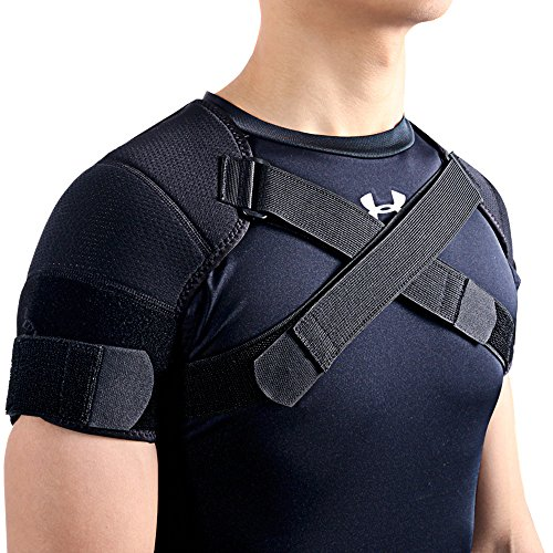 Kuangmi Sport Schulterstütze doppelt verstellbar Schwarz 1 Stück XXL schwarz
