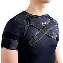 kuangmi Deportes elástica doble apoyo de hombro Protector de hombro Tear overuse Lesión Dolor Alivio De Reducir adecuado para los estudiantes de la oficina de Olds Crowds Atletas, negro